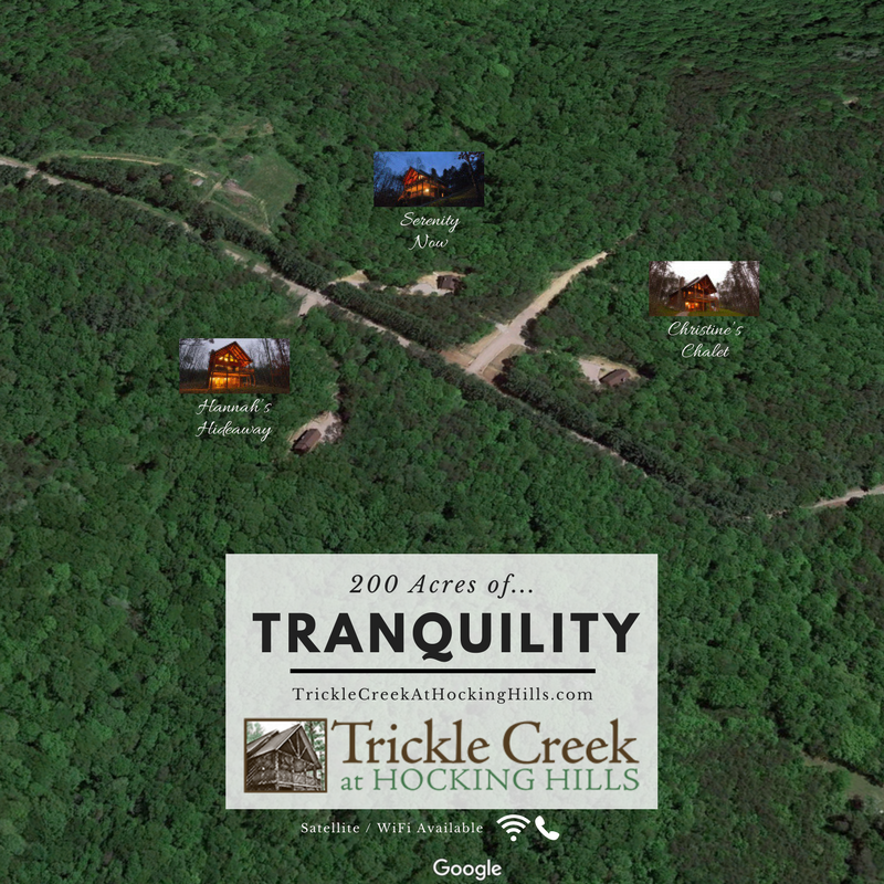 secluded cabin locations overview with trees and one road access
